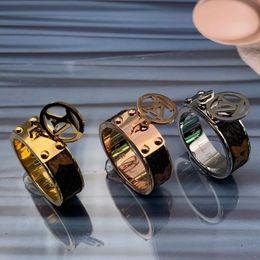 316 steel rings online shopping - Luxury high quality Titanium Steel K rose gold silver love letter wedding band leather flower ring for men women