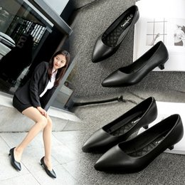cat pumps NZ - Skillful2019 High-heeled Girl Fine Work Vamp Try Occupation Black Ceremony Cat With Season Women's Shoes
