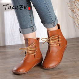 46700cb70246 Discount japanese winter boots - Handmade leather ankle boots flat bottom  retro leather women s boots Japanese