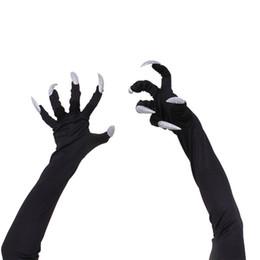 $enCountryForm.capitalKeyWord NZ - Cycling glove Halloween Party Cosplay Props Accessories Long Fingernail Claw Black Milk Silk Glove Punk White Nails bike