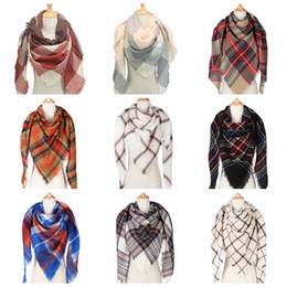 Plaid Scarf Girls Shawl 140*140*200cm Grid Wraps Lattice triangle Neck Scarves Fringed Pashmina Winter Neckerchief Blankets LJJA2918 on Sale