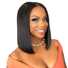 Discount free human hair wigs - Short Lace Front Human Hair Wigs Brazilian Remy Hair Bob Wig with Pre Plucked Hairline Lace Wig For Black Women Free Shi
