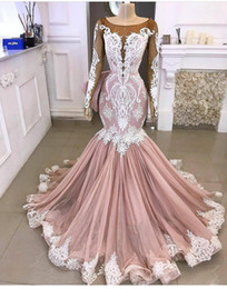 One sleeve split prOm dresses online shopping - Prom Dresses Mermaid Long Sleeves with beads and lace Applique Sweep Train Illusion Bodice Evening Gown Formal Wear vestido