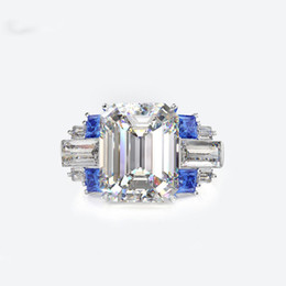 Blue Zircon Band UK - Exquisite Big Zircon Wedding rings for women High quality 925 sterling silver White Yellow Blue Green CZ Princess ring jewelry