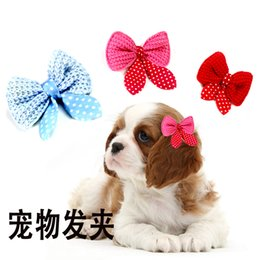 $enCountryForm.capitalKeyWord Australia - 100 pcs lot Dog Bows Volumes Ribbon Pet hair bows Dog Lace Bowknot Rubber bands Cute Dog Hair accessories Porcelain Gift For Dogs