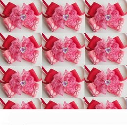 valentines bows UK - 50pcs Lot Big sale Girl Pet Dog puppy Cat red love heart Diamond Bow Ties Neckties Bowknot Valentine Lover Grooming Product L01