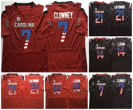 College Football Flags Australia - NCAA Mens 21 LATTIMORE 7 CLOWNEY 14 C.SHAW Men College South Carolina Gamecock Red Black Flag Limited Football Jerseys