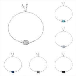 $enCountryForm.capitalKeyWord Australia - New Druzy stone bracelet 8 colors Geometric shape Natural stone charm Gold Silver chains wrap adjustable Bangle For women Luxury Jewelry