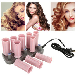 $enCountryForm.capitalKeyWord Australia - 10pcs set Professional Electric Heated Hair Rollers Curling Roll Hair Tube Roller Curlers Volume Hair Curly Styling Tool + Case SH190727