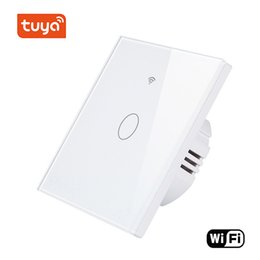 $enCountryForm.capitalKeyWord Australia - Wholesale Smart Life Wireless Wifi Android IOS App Remote Control Touch Screen Wall Light Glass Panel Switch Smart Home 1Gang Switch
