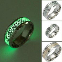 Wholesale dragon american online – design Dragon Pattern Luminous Ring Stainless Steel Hip Hop Band Rings Glowing Rings Glow In The Dark Couple Finger Ring Punk Jewelry Size6