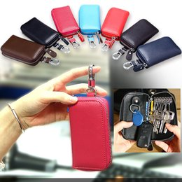 wholesale chain wallets NZ - Genuine Leather Zipper Purses Keys Wallet Women Men Multifunction Card Slot Interior Key Chain Holder Cowhide Mini Wallet Coin Pouches