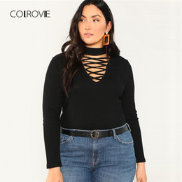 cbcdc69ef6f6 Colrovie Plus Size Cut Out Office Sexy Black T Shirt Women Tops Tee Shirts  2018 Autumn Long Sleeve Elegant Causal Femme T-shirts C19041702