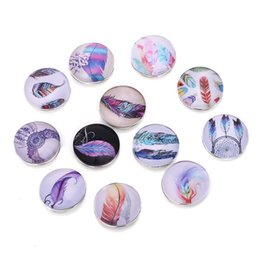 snap button making UK - whole sale10pcs lot Colourful Feather Snap Buttons Printing Glass Buttons Jewelry fit 18 20mm DIY Snap Bracelet Jewelry Making