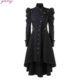 Victorian clothing online shopping - Gothic Clothes Vintage Trench Coat For Women Steampunk Victorian Swallow Tail Single Breasted Long Trench High Low Elegant Coats