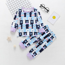 $enCountryForm.capitalKeyWord Australia - Toddler Baby Long Sleeve Cartoon Bear Tops+Pants Pajamas Sleepwear Outfits girls Boys toddler clothing sets Aurumn 2019 children