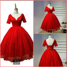 $enCountryForm.capitalKeyWord Australia - Gorgeous red lace short ball gown prom dress modest short sleeve v neck informal prom gowns petite girls sheer back prom party dress on sale