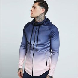 Mode De Course Veste Hommes Zippé Gradient Fitness Manteau À Capuche Jogging Randonnée Sweats Gym Sport Jacket Basketball Hoodies Vêtements