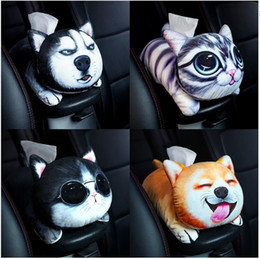 China 1pc 31cm simulation printing cool cat dog hanging plush armrest box paper towel case Vehicle tissue stuffed toy gift supplier tissue box green suppliers