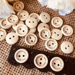 craft wholesale wooden natural buttons NZ - 100pcs Natural Color Wooden Buttons 15mm Handmade With Love Round Wood Button for Clothing Craft DIY Apparel Sewing Accessories