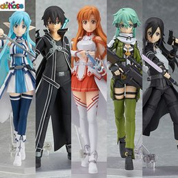 figma figures Canada - Anime Sword Art Online Figma Kirito Asuna Figure Pvc Action Figure Collection Model Kids Toy Y19062901
