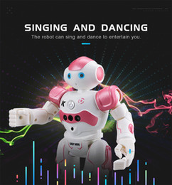 blue pink toys Canada - R2 USB Charging Singing Dancing Gesture Control RC Robot Toy Blue Pink For Kids Children Gift Christmas toys Free Shipping