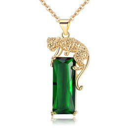 Discount gold pendants leopard - Green Cubic Zirconia Necklaces for Women Luxury Jewelry Yellow Gold Color Cool Animal Leopard Pendant Necklaces
