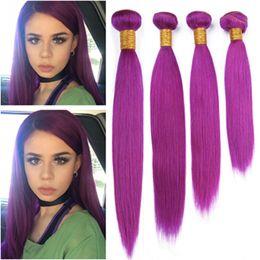$enCountryForm.capitalKeyWord Australia - Pure Purple Brazilian Virgin Human Hair Bundles 4Pcs Silky Straight Hair Weaving Purple Colored Human Hair Weaves Extensions Double Wefted