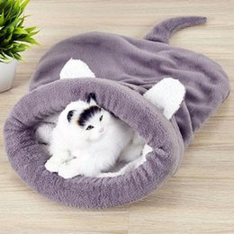 $enCountryForm.capitalKeyWord Australia - Warm Coral Fleece Cat Sleeping Bag Bed For Puppy Small Dogs Pets Cat Mat Bed Kennel House Warm Sleeping Bed For Pets