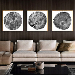 $enCountryForm.capitalKeyWord Australia - 3pcs Nordic Black and White Tree Ring Posters Abstract Wall Art Canvas Painting Modern Home wall Decorative Pictures No Frame