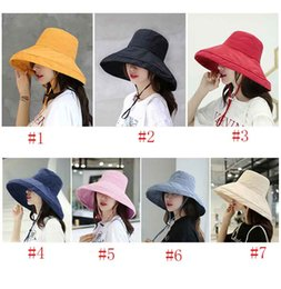 face covering hats Australia - High Quality Woman corduroy fisherman hat basin cap female summer wild simple big Cap pure color cover face casual sun hat Woman's hats