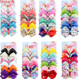 "colorful bows NZ - Free DHL Designer INS 5"" JOJO hair Bow girl colorful print Barrettes Girl Hair Accessories Rainbow Unicorn kids Unicorn party hair clipper"