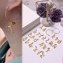 brass alphabet charms Australia - Hot Sale Brass bamboo Letters charm Earriings for women Street style Copper Gold Snake skeleton studs earrings fashion Jewelry