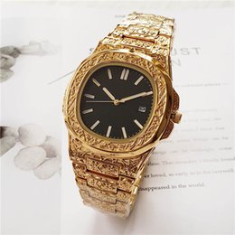 $enCountryForm.capitalKeyWord Australia - Golden luxury engraved men's mechanical movement stainless steel watch designer sports spontaneous style business quality watch