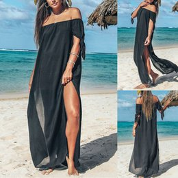 maxi dress elegant black chiffon Australia - beach dress Women Boho Sexy Summer Chiffon Floral dresses evening Party black Long Maxi Lace elegant Dress vestidos Fashion