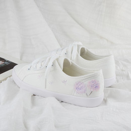 hand painting canvas shoes NZ - New white shoes hand-painted literary wild flat casual canvas shoes women