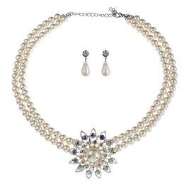 Rhinestone Jewelry Sets Designs Australia - Bride Crystal Imitation Pearl Costume jewelry sets New Design Rhinestone Choker Necklace Earrings Tiara Bridal Jewelry Set