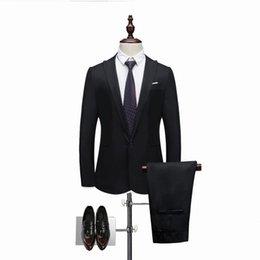 $enCountryForm.capitalKeyWord Australia - 2 Pieces Brand Men Suit Fashion Solid Suit 2019 Casual Slim Mens Bussiness Wedding Suits Male Jacket Coat Pant Plus Size 3XL