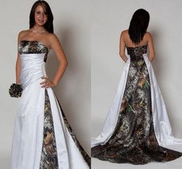 Strapless Satin Wedding Dresses Bridal Australia - 2019 Strapless Camo Wedding Dress with Pleated Empire Waist A line Sweep Train Satin Country Beach Bridal Gowns Plus Size Cheap Custom Made