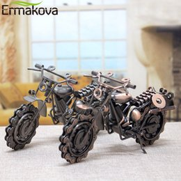 Wholesale Ermakova cm quot vintage Motorcycle Model Retro Motor Figurine Iron Motorbike Prop Handmade Boy Gift Kid Toy Home Office Decor J190713