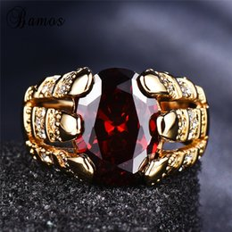 cubic zirconia yellow gold rings Canada - Bamos Female Male Red Cubic Zirconia Ring Size 6-12 For Women&Men Vintage Couple Rings Luxury Yellow Gold Filled Crystal Jewelry