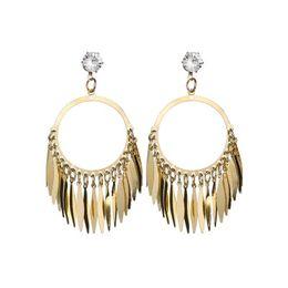 $enCountryForm.capitalKeyWord UK - 2019 Retro Exaggerated Atmospheric Hot Selling Rhinestone Geometry Alloy Metal Leaves Tassel Earrings For Women E206