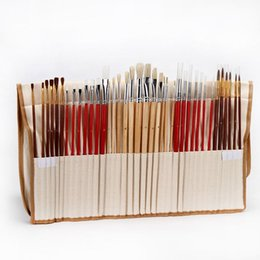 Supplying Hair Wholesale UK - 38pcs Paint Brushes Set With Canvas Bag Case Long Wooden Handle Synthetic Hair Art Supplies For Oil Acrylic Watercolor Painting T8190617