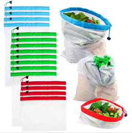 Shop bag fruit online shopping - Reusable shopping bags eco friendly mesh vegetable fruit toys storage pouch hand totes home environmental storage bag