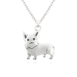 Vintage brass animals online shopping - New Vintage Silver Welsh Corgi Dog Pet Charm Pendant Necklace Women Stainless Steel Long Chain Men Accessories Pet Lover Gift