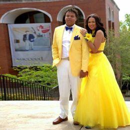 $enCountryForm.capitalKeyWord Australia - Yellow Linen Groom Tuxedo Men Suits for Wedding Nothed Lapel Traje Hombre Man Prom Blazer Costume Homme 2Piece(Coat Pants)Terno Masculino