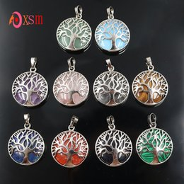 $enCountryForm.capitalKeyWord Australia - 1 Pcs Tree of Life Natural Stone Pendant Amethysts Opal Crystal Lucky Charms for Women Men Necklaces Reiki Jewelry
