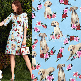 $enCountryForm.capitalKeyWord Australia - 100cm*145cm Blue Sicily Rose & Dog Jacquard Print Fabric Sewing Garment High Quality Thick