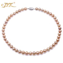 cultured pearl jewelry set Canada - JYX Fashion Pearl Necklace Set 9-10mm Round Champagne Freshwater Cultured Pearl Necklace Bracelet and Earrings Jewelry Set