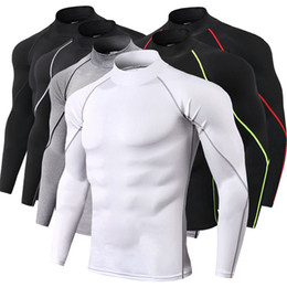 Wholesale tight muscle shirts resale online - Men Sports T shirts High Collar Fitness Running Tight Tops High Elastic Long Sleeve Muscle Gym Jersey Designer Bodybuildin Pullover